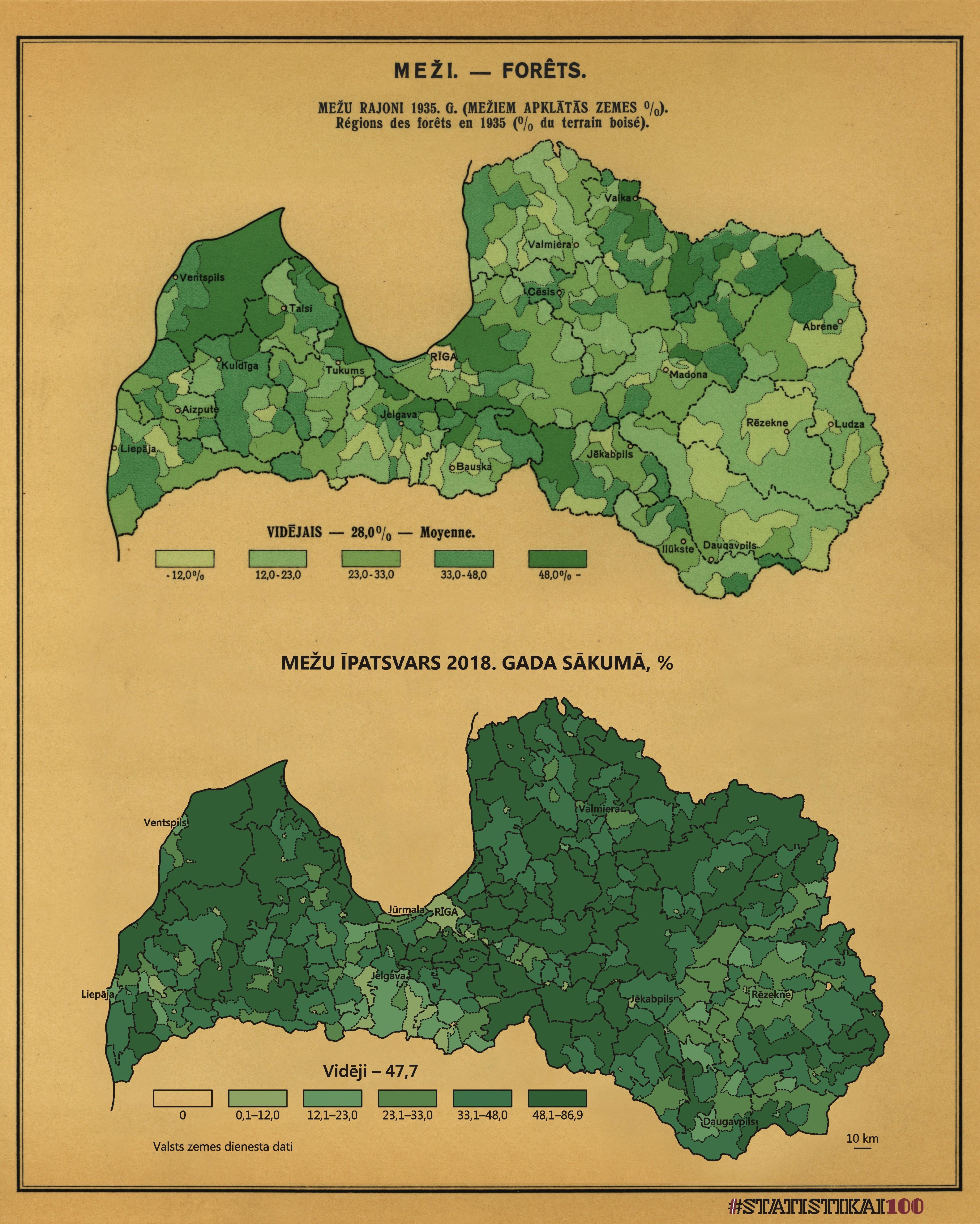 Karte: Mežu īpatsvars 1935. un 2018. gadā