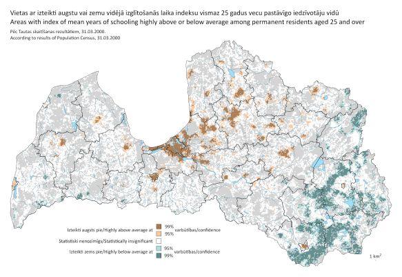 Kartes attēls - Vietas ar izteikti augstu vai zemu vidējā izglītošanās laika indeksu vismaz 25 gadus vecu pastāvīgo iedzīvotāju vidū